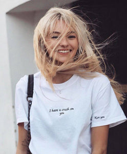 t-shirt with I have a crush on you slogan embroidery