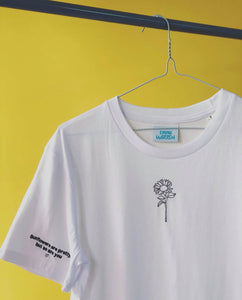 Organic t-shirt with embroidered sunflowers are pretty but so are you embroidery