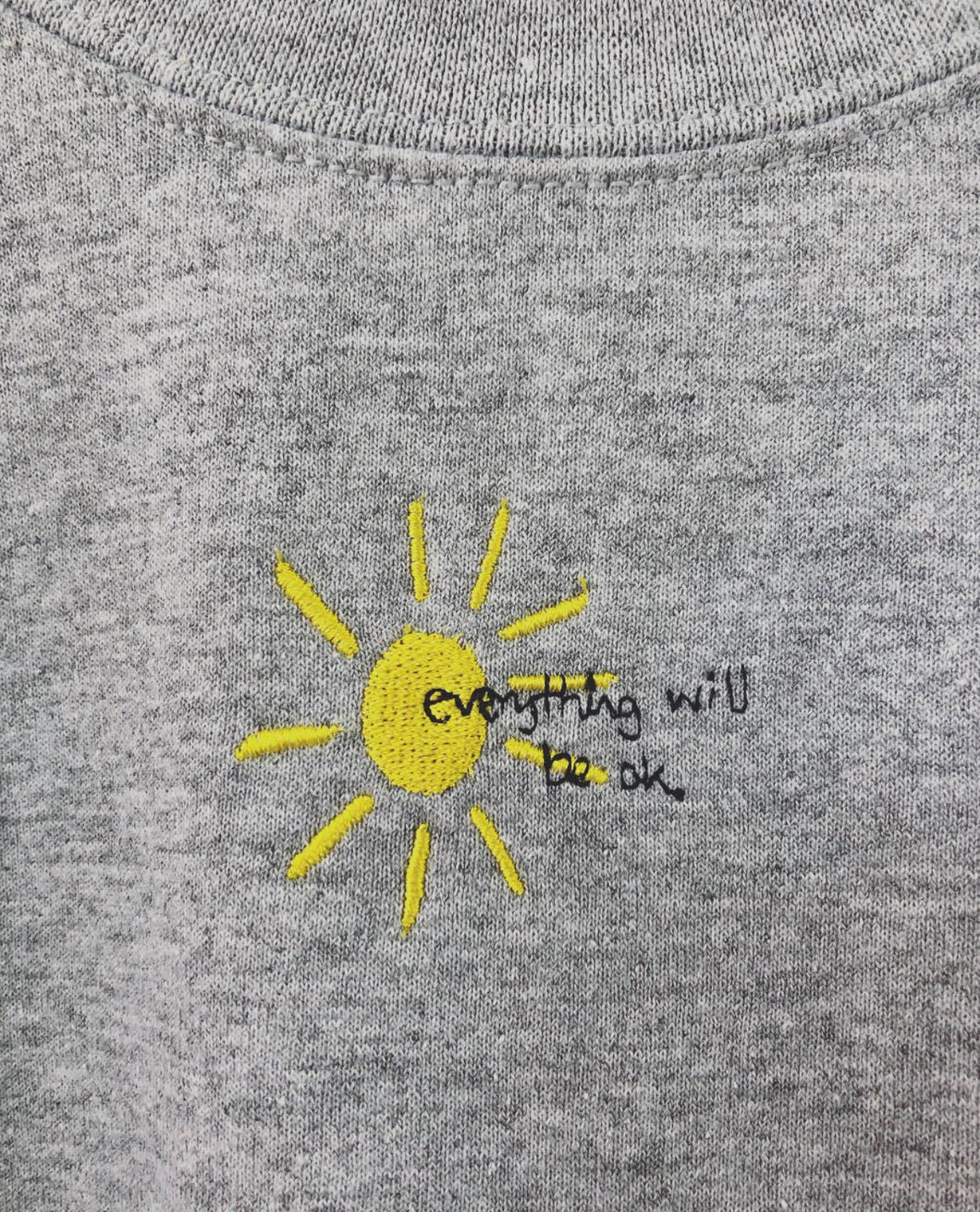 Embroidered everything will be ok sun with mini bee sleeve sweater
