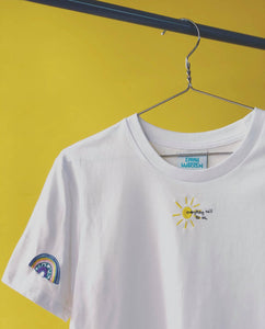 Organic t-shirt embroidered everything will be ok sun with rainbow sleeve tee