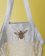 Load image into Gallery viewer, Embroidered 'market treats' bee bag