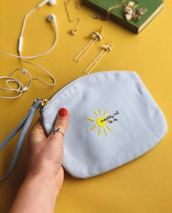 everything will be ok sun embroidered accessory purse / make up bag