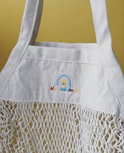 Load image into Gallery viewer, Embroidered 'market treats' no bad days rainbow bag