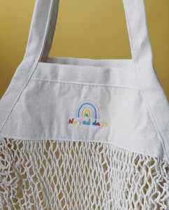 Embroidered 'market treats' no bad days rainbow bag