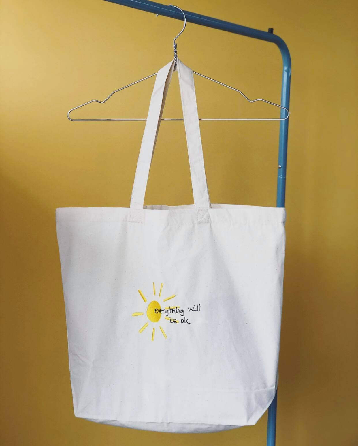 Everything will be ok sun embroidered tote bag