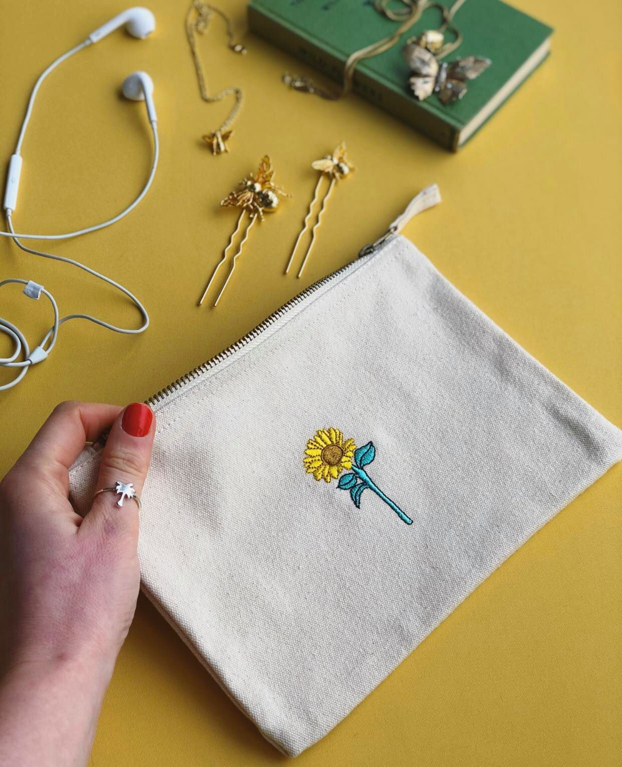 Sunflower embroidered accessory pouch