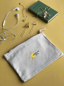everything will be ok sun embroidered accessory pouch