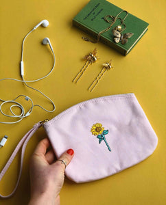 Sunflower embroidered accessory purse / make up bag