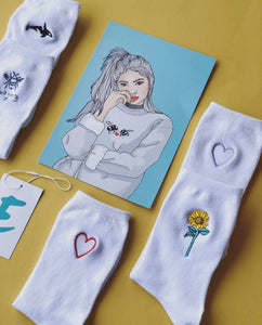 Cute Embroidered sunflower/heart/Orca/ Dont worry socks!