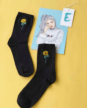 Load image into Gallery viewer, Cute Embroidered sunflower/heart/Orca/ Dont worry socks!