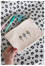 Load image into Gallery viewer, make up bag in natural with sunflower embroidery
