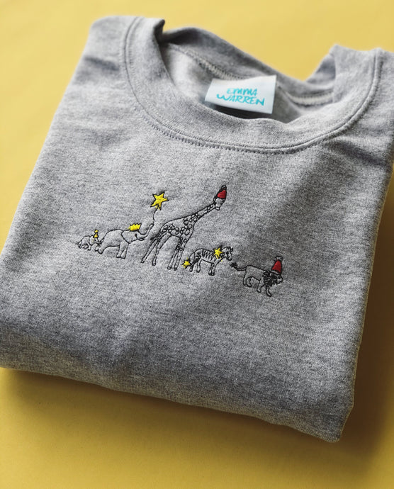 Embroidered animal party sweater