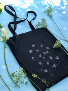 Lots of bugs embroidered tote bag