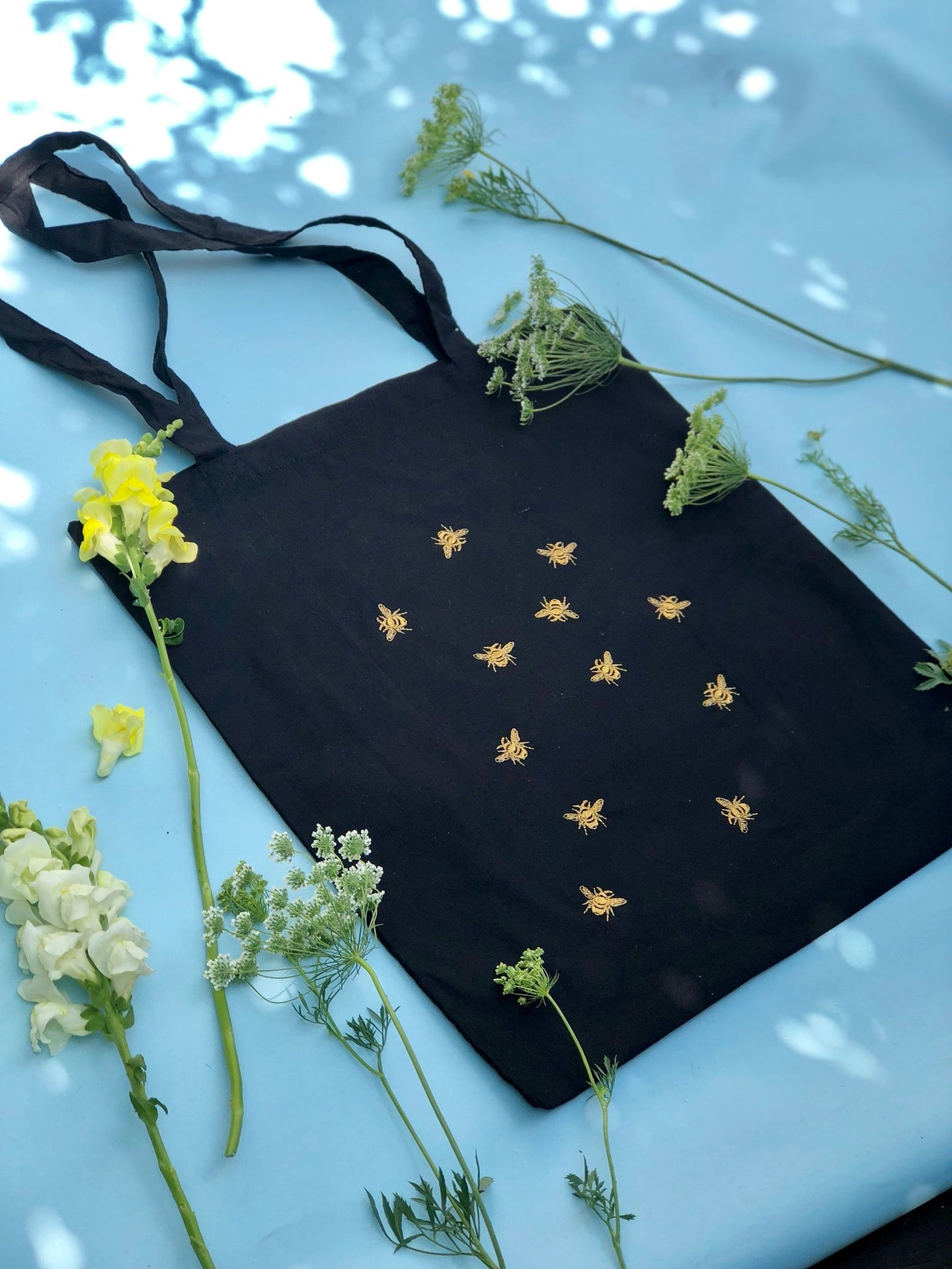 Lots of bees embroidered tote bag