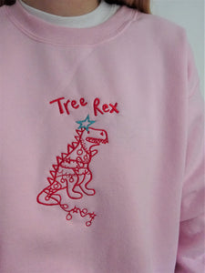 Embroidered tree rex Sweater
