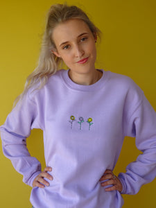 unisex sweatshirt with sunflower embroidery