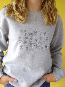 Embroidered doodle dog Sweater