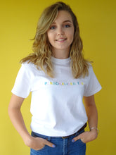 Load image into Gallery viewer, t-shirt with personalised slogan embroidery