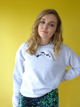 Load image into Gallery viewer, Embroidered trio orca ash coloured Sweater