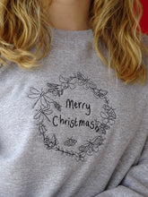 Load image into Gallery viewer, Embroidered merry Christmas bug wreath Sweater