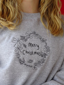 Embroidered merry Christmas bug wreath Sweater