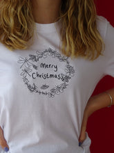 Load image into Gallery viewer, organic embroidered xmas bug wreath tee