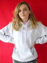 Load image into Gallery viewer, Embroidered mini heart hoodie in ash grey