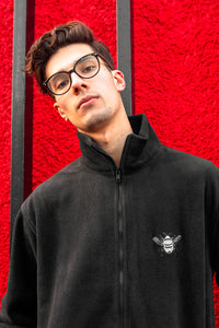 Unisex black fleece with silver bee embroidery