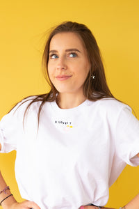 t-shirt with be lovely slogan embroidery