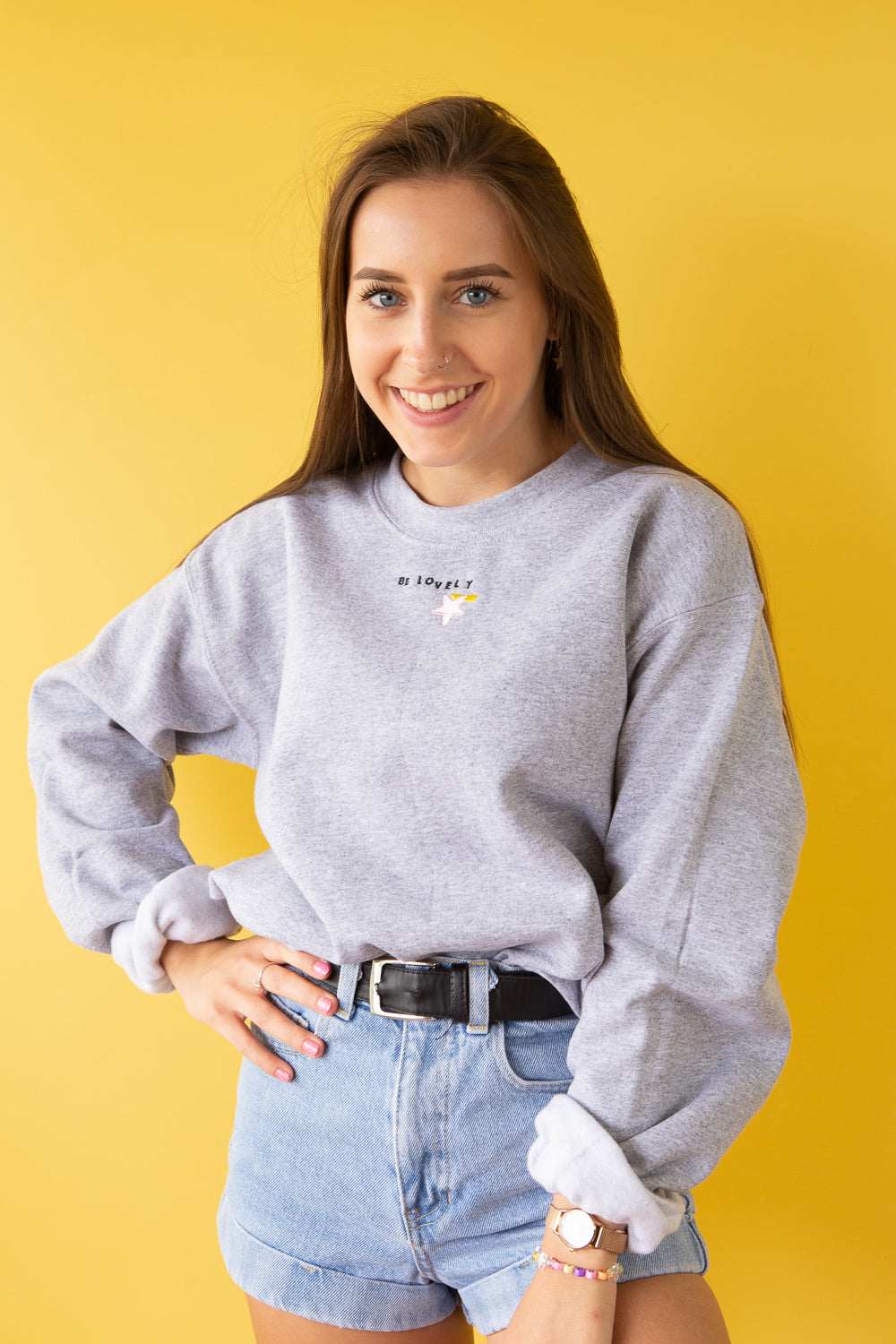 Embroidered be lovely Sweater
