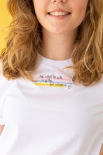 Load image into Gallery viewer, t-shirt with We would be cute together but whatever slogan embroidery