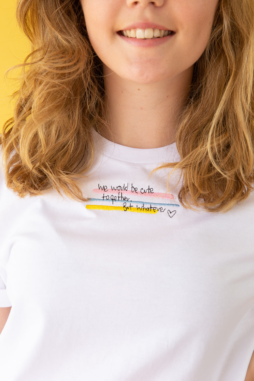 t-shirt with We would be cute together but whatever slogan embroidery
