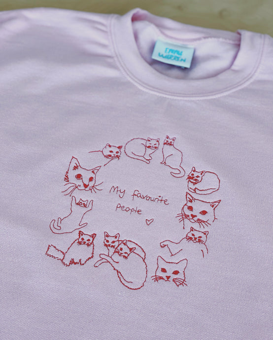 Cats are my favourite people embroidered sweater