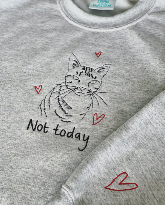 Not today embroidered cat sweater with heart sleeve detail