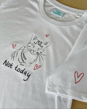 Load image into Gallery viewer, Not today slogan and cat embroidered organic t-shirt with heart sleeve