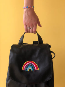 Embroidered rainbow backpack