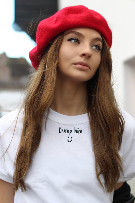 t-shirt with dump him slogan embroidery