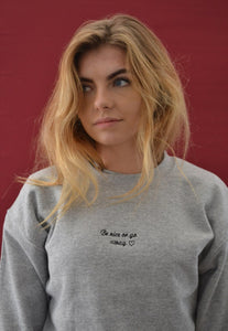 unisex sweatshirt with be nice or go away slogan embroidery