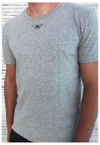 organic t-shirt in grey with mini moth embroidery