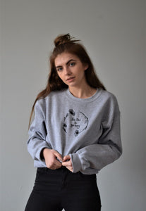 unisex sweatshirt in grey with be nice or go away embroidered slogan
