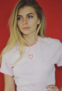 t-shirt heart embroidery