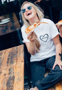 t-shirt with pizza heart embroidery