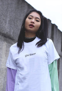 t-shirt with girl power slogan embroidery