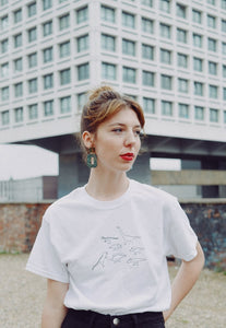 Unisex T-shirt in white with multi dinosaur embroidery