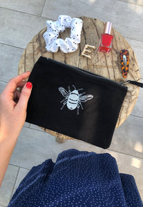 Bee embroidered accessory pouch