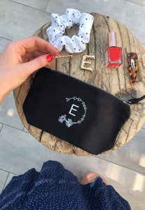 make up / accessory bag in natural with personalised initial