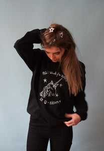Embroidered Christmas Unicorn Sweater