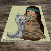 Load image into Gallery viewer, Beautiful Native Girl with Husky (Ruffles)
