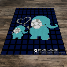 Load image into Gallery viewer, Baby and Mommy Elephant with a Plaid Background
