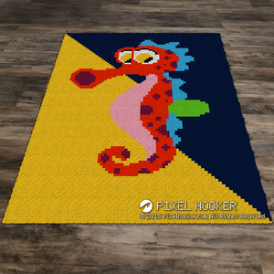 Multi-Coloured Background Seahorse